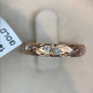 NWT Engraved Diamond Band, 14kt Rose Gold